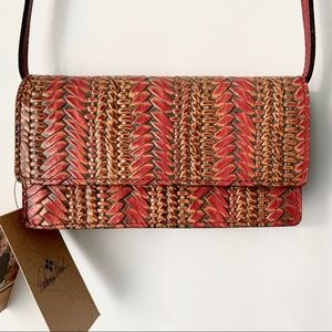 Patricia Nash Embossed Wicker Crossbody Bag Clutch